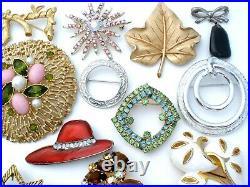 Vintage Rhinestone Brooches Lot 25 Pieces Enamel Flowers Trifari Sarah Cov Pins