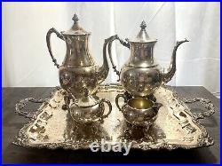 Vintage Sheridan Silver on Copper Coffee & Tea Set with Footed Tray 5 Piece