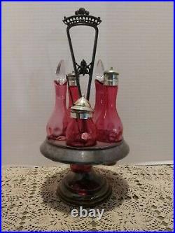 Vintage Victorian Cranberry Thumbprint 5 Piece Cruet Condiment set