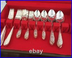 Vintage Wallace Plate Silver Flatware Set Astor Pattern 53 Pieces