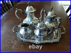Vintage coffee, tea, service. 5 pieces, Lancaster Rose, Poole Silver Co