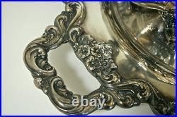 Vintage huge POOLE Silver Co. Lancaster Rose tray, silver plate, 6 piece set