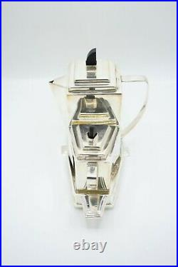 Vintage silver plated Art Deco style three piece tea set in tray by James Deakin