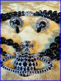 Vivienne Westwood 3 Piece Swarovski Black Carved Crystal Water Drop Choker Set