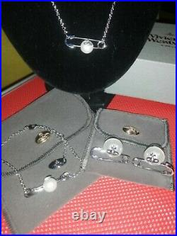 Vivienne Westwood Pearl Safety Pin Saturn Orb Silver Plated 3 Piece Set
