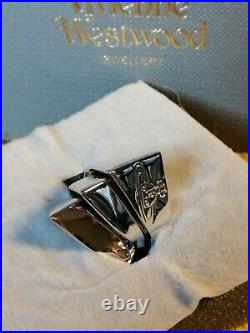 Vivienne Westwood Silver Plated Armour Saturn Orb 3 Piece Ring