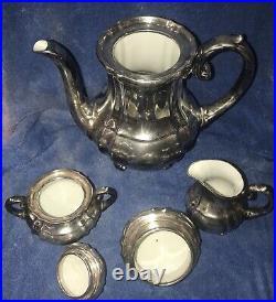 WMF SILVER-PLATED on PORCELAIN TEA SET =5 piece=Teapot Creamer Sugar Bowl