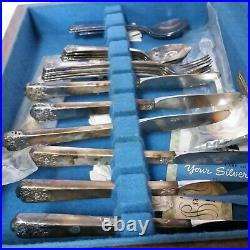 WM Rogers & Son April Silverplate Flatware Set Box 28 Piece Setting Silverware