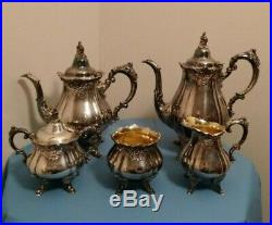 Wallace Baroque Silver Plate 5 Piece Tea and Coffee Set #281 285