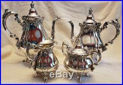 Wallace Baroque Tea Coffee Service 4 Piece Set Silverplate 281 282 283 284